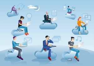 Cloud computing represented by people on clouds, featured on MarketResearch.com