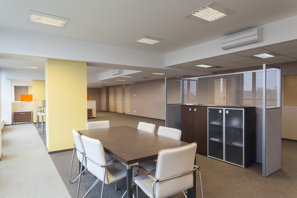 Interior of a modern office building, empty room