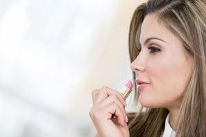 Beauty portrait of a woman wearing lipstick