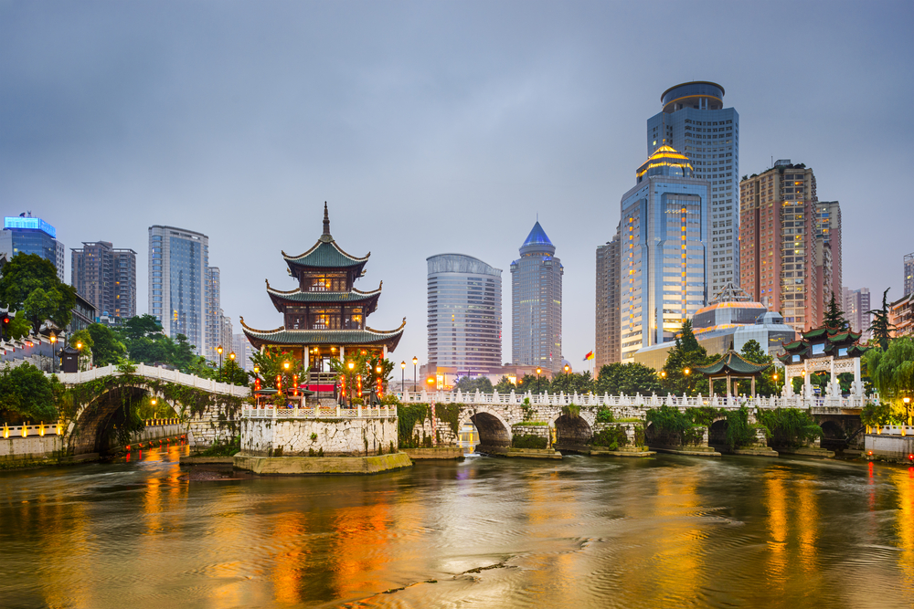 """Guiyang, China city skyline on the river. """"ATTN REVIEWER -- Please see case #01390114"""""""